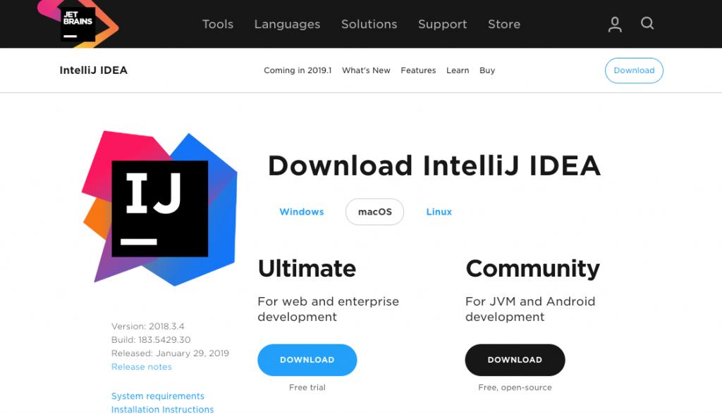 IntellJのダウンロード